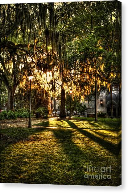 Girl Scouts Canvas Print - Sundown On Johnson Square In Savannah by Reid Callaway