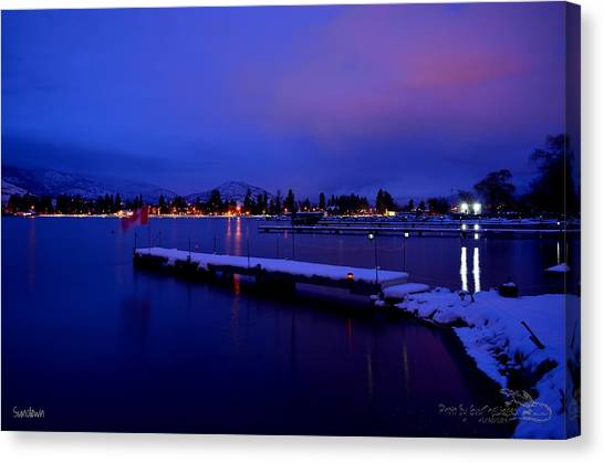 Sundown - The Blue Hour At Skaha Lake Canvas Print
