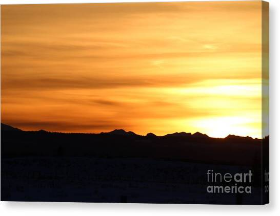 Canvas Print featuring the photograph Sundre Sunset by Ann E Robson