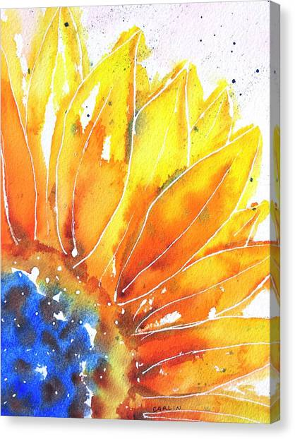 Sunflower Blue Orange And Yellow Canvas Print
