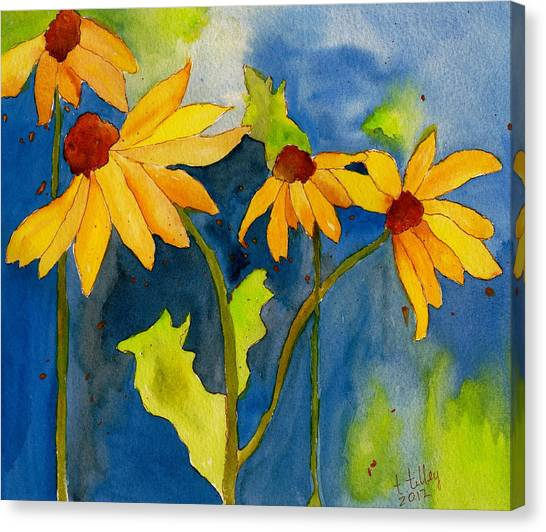 Sunflower Blue Watercolor Canvas Print