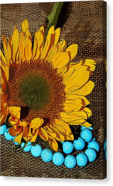 Sunflower Burlap And Turquoise Canvas Print