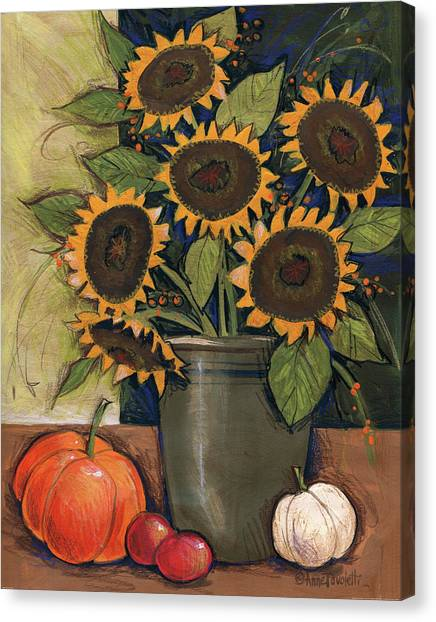 Crocks Canvas Print - Sunflower Crock by Anne Tavoletti
