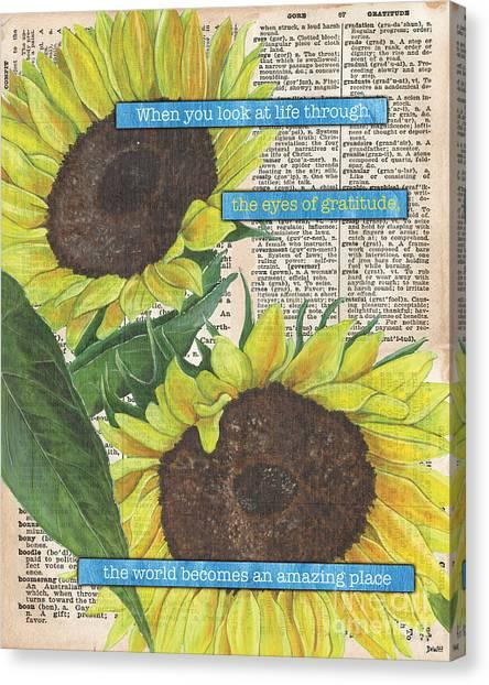 Old World Canvas Print - Sunflower Dictionary 2 by Debbie DeWitt