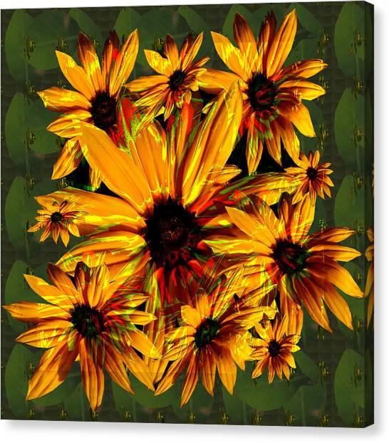 Stockart Canvas Print - Sunflower Flower Orange Flower Bunch Bouquet Spiritual Elegant Artistic Graphic Digital Stock Images by Navin Joshi
