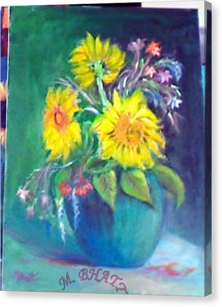 Sunflower Vase Canvas Print by M Bhatt