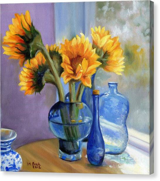 Sunflowers And Blue Bottles Canvas Print