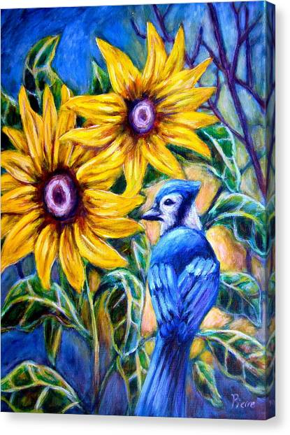 Sunflowers And Blue Jay Canvas Print