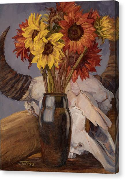 Sunflowers And Buffalo Skull Canvas Print