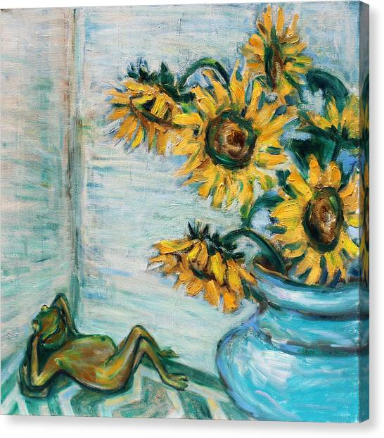 Sunflowers And Frog Canvas Print