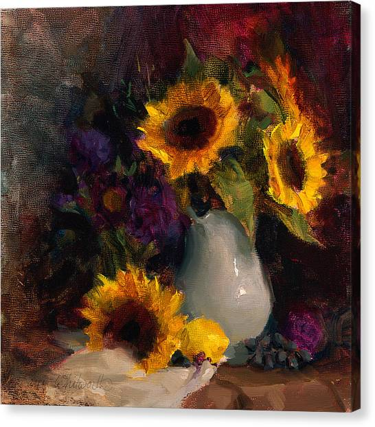 Sunflowers And Porcelain Still Life Canvas Print