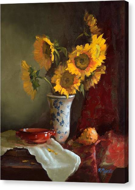 Sunflowers And Red Saucer Canvas Print