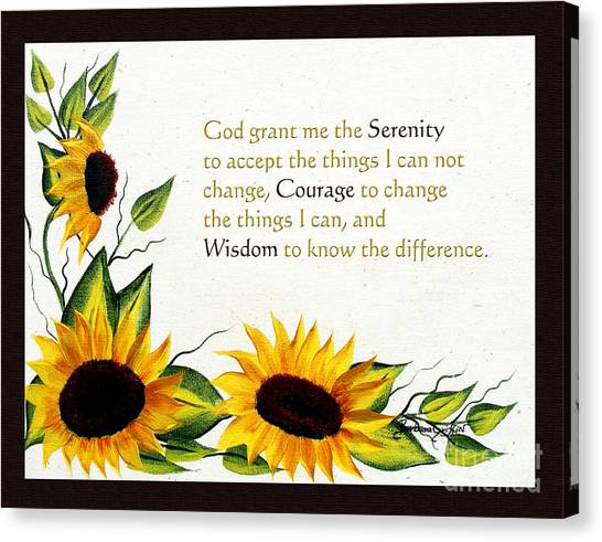 Serenity Prayer Canvas Print - Sunflowers And Serenity Prayer by Barbara Griffin