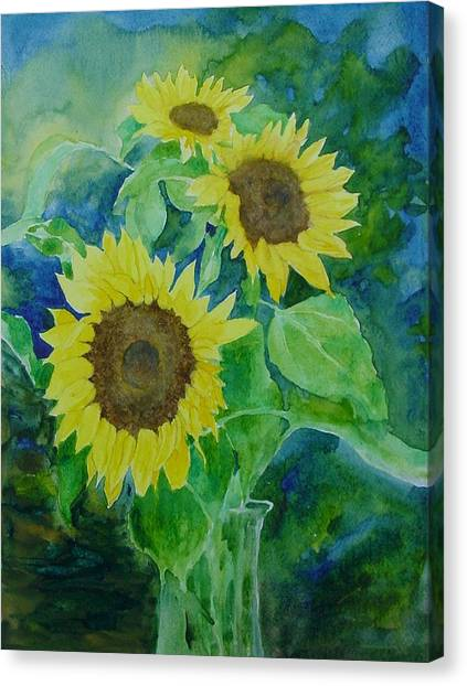 Sunflowers Colorful Sunflower Art Of Original Watercolor Canvas Print