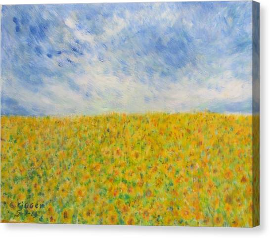 Sunflowers  Field In Texas Canvas Print