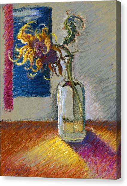 Sunflowers In A Bottle Canvas Print