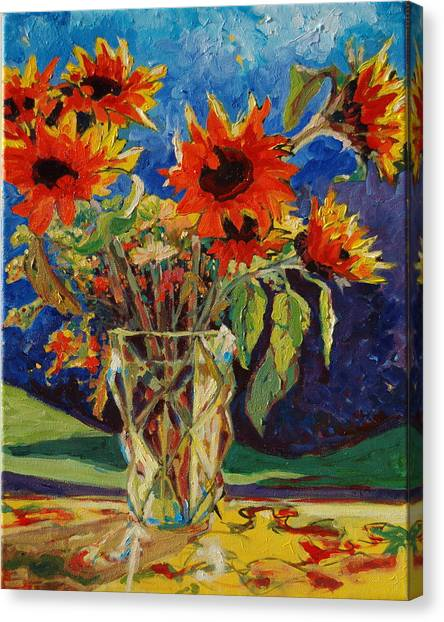 Sunflowers In A Crystal Vase Canvas Print
