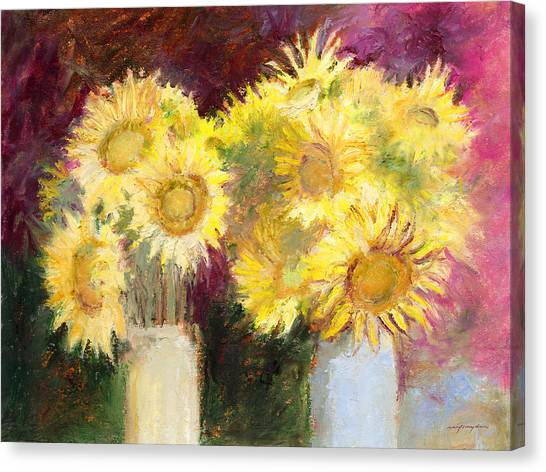 Sunflowers In Jars Canvas Print