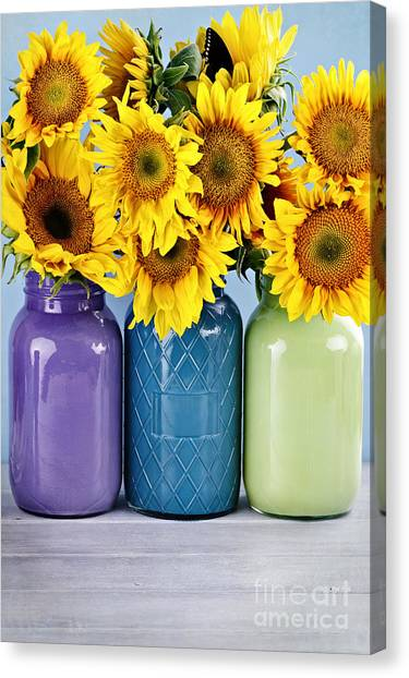 Sunflowers In Painted Mason Jars Canvas Print