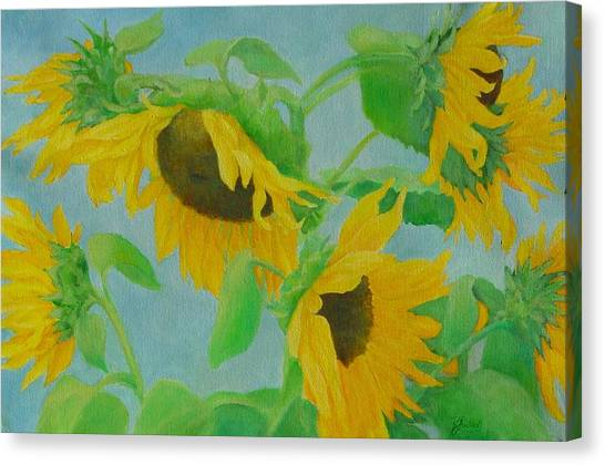 Sunflowers In The Wind 2 Canvas Print by K Joann Russell