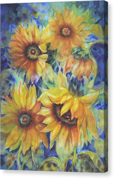 Sunflowers On Blue I Canvas Print