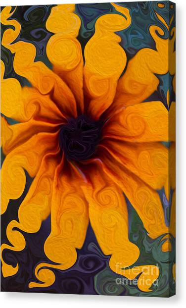 Canvas Print featuring the painting Sunflowers On Psychadelics by Omaste Witkowski