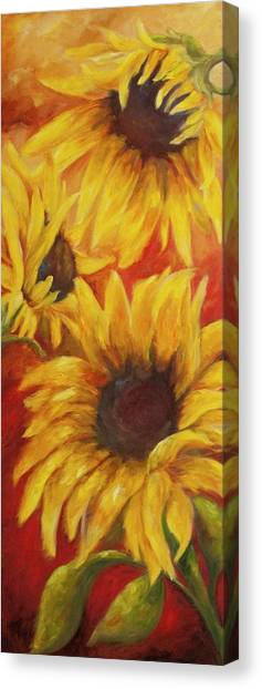 Sunflowers On Red Canvas Print