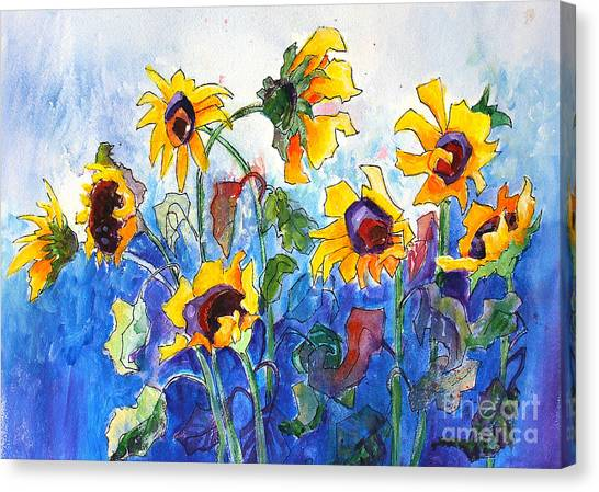 Canvas Print featuring the painting Sunflowers by Priti Lathia
