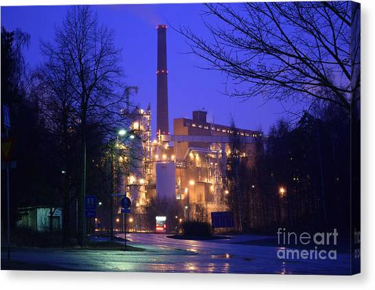 Sunila Pulp Mill By Rainy Night Canvas Print