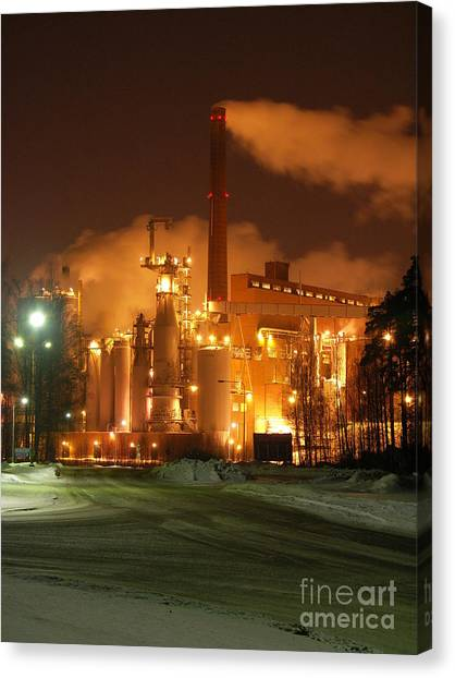 Sunila Pulp Mill By Winter Night Canvas Print