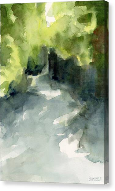 Brown Canvas Print - Sunlight And Foliage Conservatory Garden Central Park Watercolor Painting by Beverly Brown