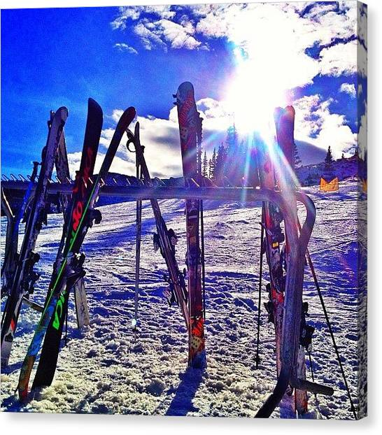 Rocky Mountains Canvas Print - Sunlight Though Skis by Jonathan Joslyn