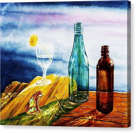 Sunlit Bottles Canvas Print