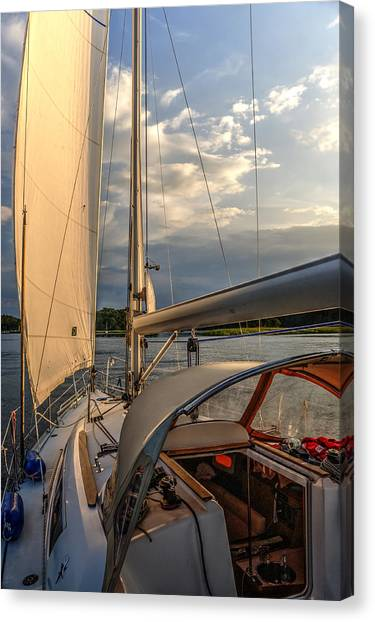 Sunny Afternoon Inland Sailing In Poland 2 Canvas Print