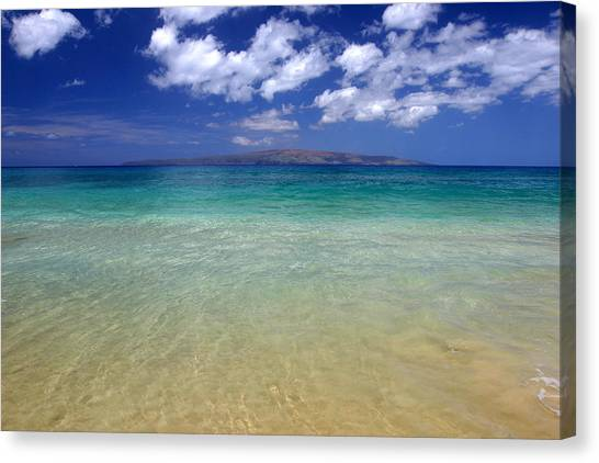 Sunny Blue Beach Makena Maui Hawaii Canvas Print