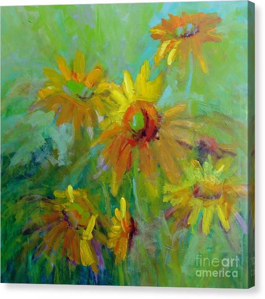 Sunny Daisies Canvas Print by Virginia Dauth