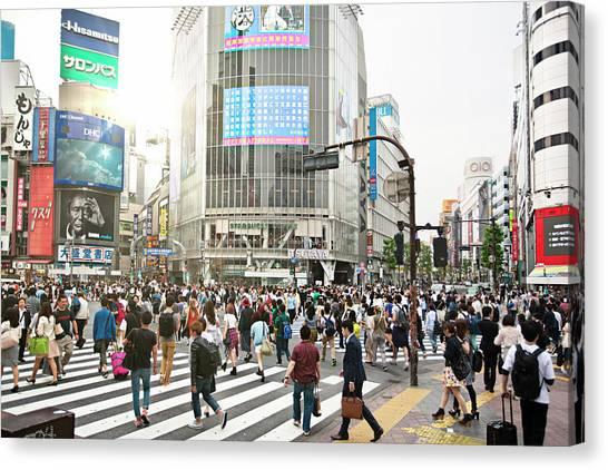 Sunny Day In Shibuya Canvas Print by Xavierarnau