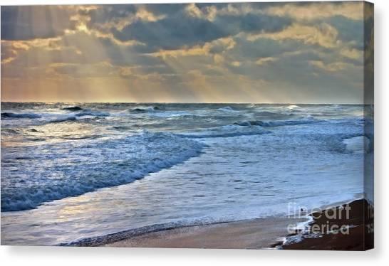 Sunrays On An Angry Sea Canvas Print