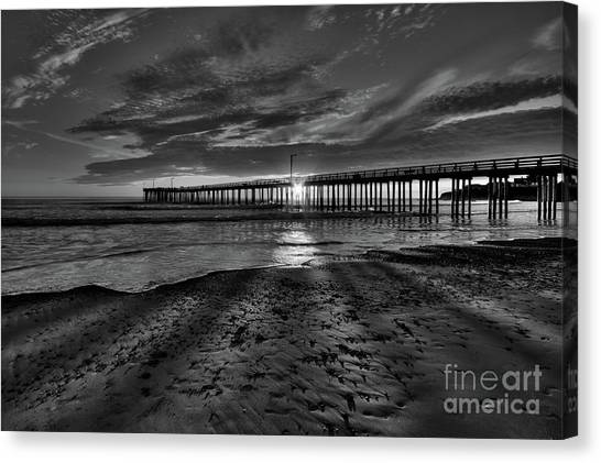 Sunrays Through The Pier In Black And White Canvas Print