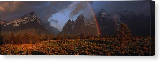 Wy Canvas Print - Sunrise & Rainbow Grand Teton National by Panoramic Images