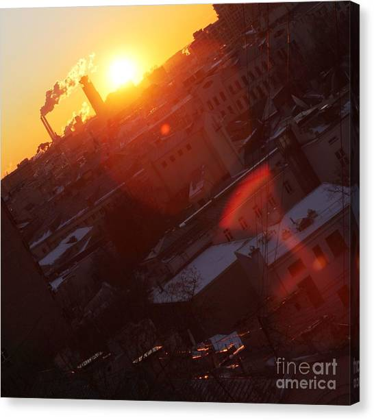 Moscow Skyline Canvas Print - Sunrise  by Anna Yurasovsky