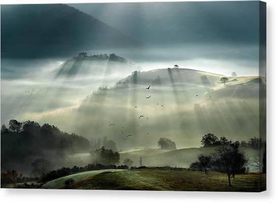 Rolling Hills Canvas Print - Sunrise by Alessandro Ferretti