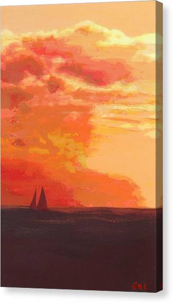 Canvas Print featuring the painting Sunrise And Sails Emerald Isle North Carolina by G Linsenmayer