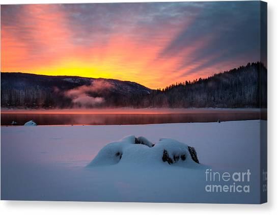 Sunrise At Bass Lake Canvas Print