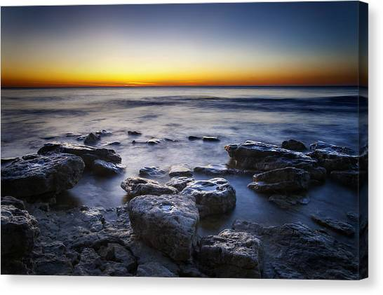 Lake Michigan Canvas Print - Sunrise At Cave Point by Scott Norris