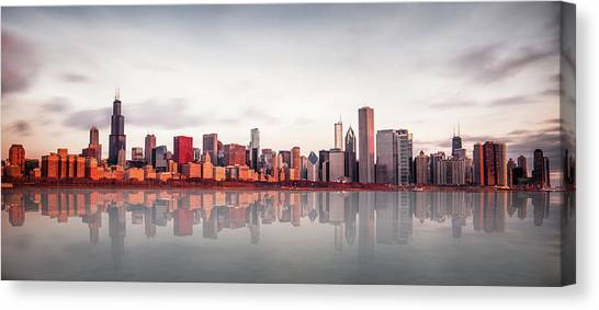 Chicago Canvas Print - Sunrise At Chicago by Marcin Kopczynski