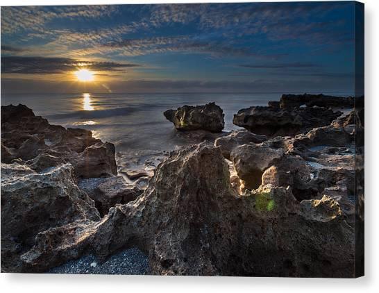 Sunrise At Coral Cove Park In Jupiter Canvas Print