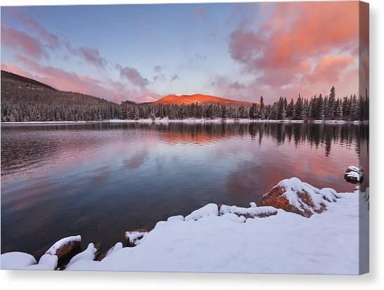 Lake Sunrises Canvas Print - Sunrise At Echo Lake by Darren  White