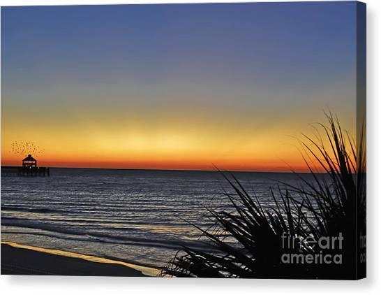 Sunrise At Folly Canvas Print