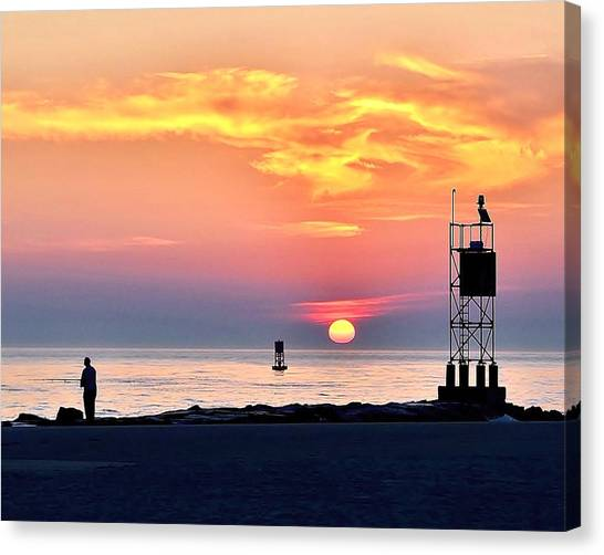 Canvas Print featuring the photograph Sunrise At Indian River Inlet by Kim Bemis